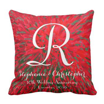 Red Green Monogram Christmas Anniversary Gift Throw Pillow