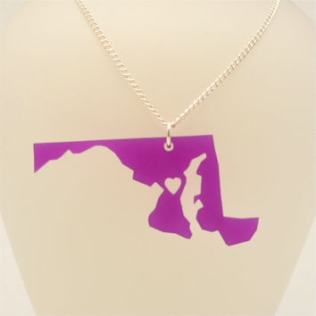 Maryland Wood or Acrylic State Love Necklace with Heart - Laser Cut Jewelry