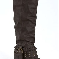 Gliks - Not Rated Tall Scrunch Boot in Grey for Women
