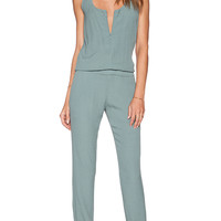 MONROW Heritage Crepe Jumpsuit in Green