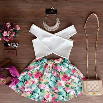 Floral Print Cross Top Dress Set