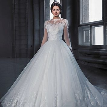 Vestido De Noiva Princess Ball Gown Long Sleeve Lace Wedding Dresses 2017 See Through Tulle Vintage Bridal Gowns Robe De Mariage