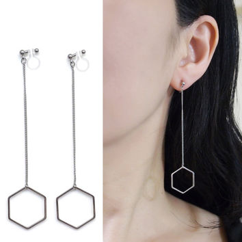 Dangle Long Silver Hexagon Invisible Clip on Earrings Minimalist Theader Clip Earrings Geometrics Clip-on Non Pierced Earrings Chic Earrings