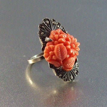Vintage Art Deco Sterling Carved Coral Cocktail Ring, Marcasite Accents, Floral Motif, Size 5.5