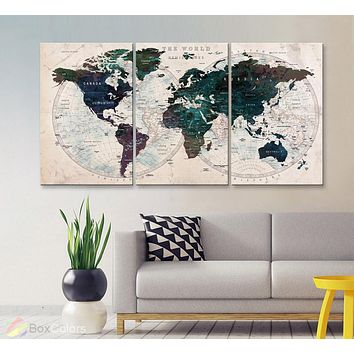"LARGE 30""x 60"" 3panels 30x20 Ea Art Canvas Print Watercolor Map World Push Pin Travel M1804"