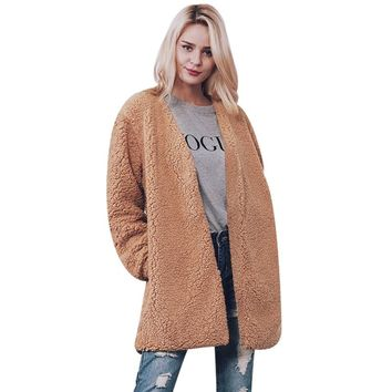 Winter Women Fur Coat Women'S Jacket Faux Fur Coat Female Lamb Coats Wool Warm Overcoat Cardigan Outwear Long Sleeve Casaco