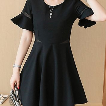 Casual Bell Sleeve Round Neck Hollow Out Plain Skater Dress