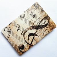 SunshineCase(TM) Treble Clef Music Musical Sheet Notes Vintage Pattern Stand Case Cover Slim Book Shell Stand Case Cover for Apple iPad mini 7.9 inch Tablet ipad mini 3, 2 and 1 Case