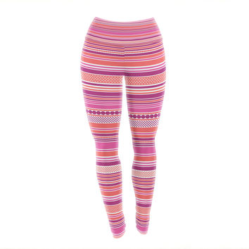 "Nandita Singh ""Pink Ribbons"" Blush Purple Yoga Leggings"