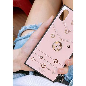 LV Louis Vuitton Popular Personality Creative Crystal Necklace Pattern Phone Case Shell For iphone 6 6plus iphone 7 7plus iphone 8 8plus iphone X Pink I12325-1