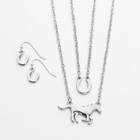 Horse Statement Necklace Set Silver