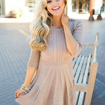 Left Without a Kiss Knit Dress Taupe