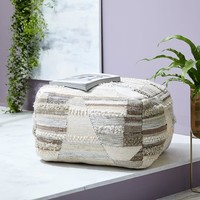 Terrace Stripe Pouf - Ivory
