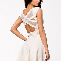 Wrap Strap Back Mesh Skater Dress