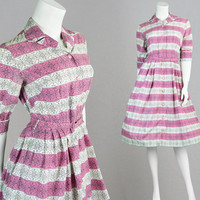 Vintage 50s Full Skirt Dress St Michael Novelty Print Pink Stripe Tea Dress Art Nouveau Fit & Flare 1950s Dress Pin Up House Dress Nylon