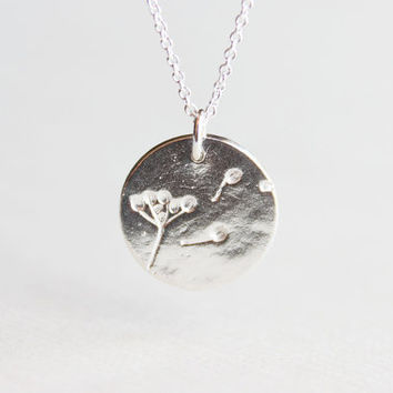 Dandelion Wish Necklace - sterling silver dandelion disc circle charm, wishes come true, thoughtful gift