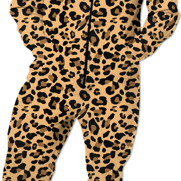 Beige leopard pattern Onesuit, custom vector theme, hooded costume, camo pattern