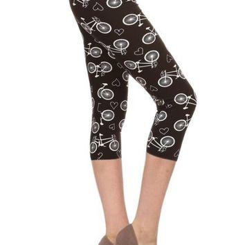 Women's Capri Bike Leggings Black/White: OS/PLUS