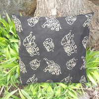 """Golden Elephants Pillow Covers / 20""""x20"""" / Set of Two."""