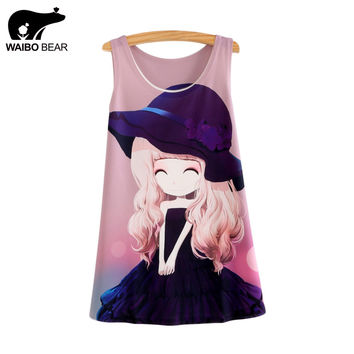 WAIBO BEAR 2017 New Fashion Tank Tops Summer sleeveless T-shirt cotton Tees Flower flower girl print Tanks & Camis