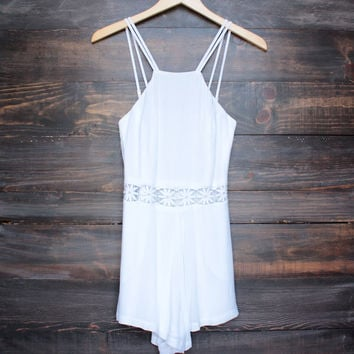 gauzy bohemian dream lace accent romper in white
