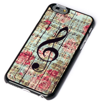 iPhone 6 Case Music Note on Vintage Flower Wooden Wall