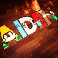 KIDSLINE JUNGLE 123 INSPIRED HAND PAINTED WOOD WALL LETTERS