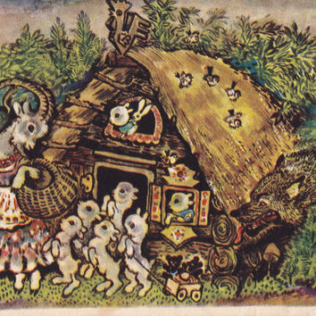 """Signed. Illustration by Charushin for Russian Folk Tale """"The Wolf and the Seven Little Kids"""" - 1958, Leningrad Artist. Condition 5/10"""