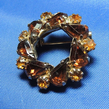 Amber Colored Rhinestone Brooch, Yellow Brown Vintage Brooch Pin