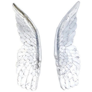 Large - Silver Angel Wings - Angel Wing Wall Decor - Sympathy Gift - Loss of Loved One - Spiritual - Religious Memorial Wall Decor - XLANG10
