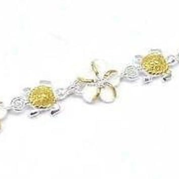 YELLOW GOLD PLATED 2T SILVER 925 HAWAIIAN BABY TURTLE 8MM PLUMERIA ANKLET 9 1/2""