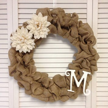 "Pearsonalized Wreath, Initial Wreath, 18"" Burlap Wreath with 2 Burlap Flowers and Initial, Wreath for All Year, Burlap Wreath for Door"