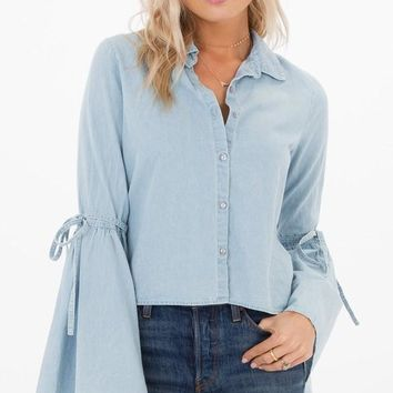 White Crow Denim Bell Sleeve Top