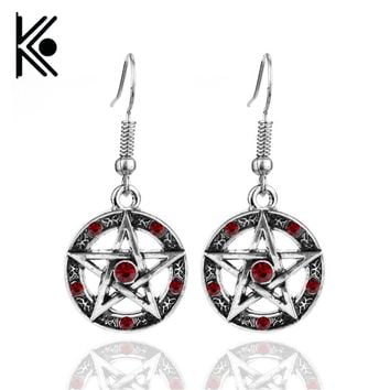 free shipping Fashion Jewelry Vintage Charm Supernatural Dean Earrings For Women Pentagram crystal jewelry