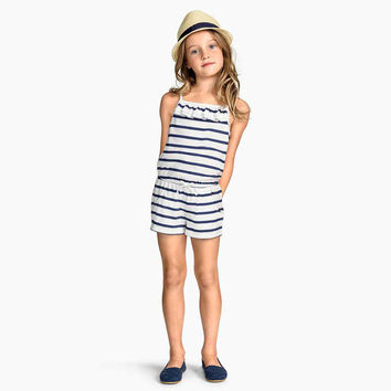 Cool Summer Navy Stripes Butterfly Ruffle Spaghetti Strap Romper [4951955716]