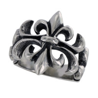 Fleur De Life – FINAL SALE Black oxidized stainless steel detailed fleur de lis ring