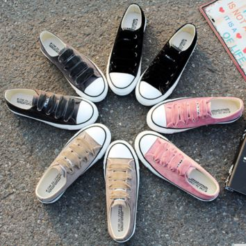 Solid color velvet flocked lace-up sneakers ~ 4 colors!