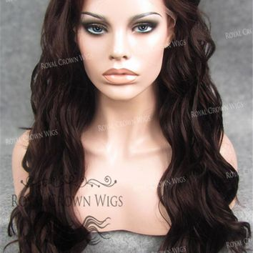 """24"""" Synthetic Lace Front with Wave Texture in Burgundy Brown"""