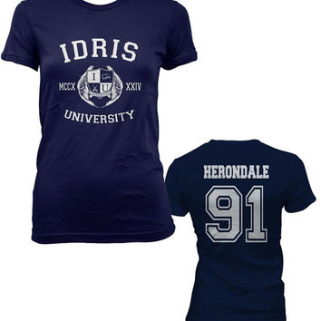 Herondale 91 Idris University Shadowhunters Women Tshirt tee NAVY BLUE