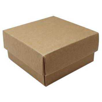 10Pcs/Lot 17*17*4cm Jewel Packaging Kraft Paper Box With Hat Paperboard Boxes DIY Gift Craft Package Box With Paper Lid