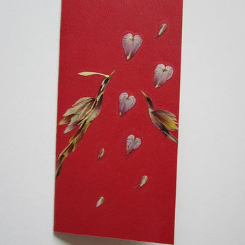 "Handmade unique greeting card ""Love is in the air"" - Decorated with dried pressed flowers and herbs - Original art collage."