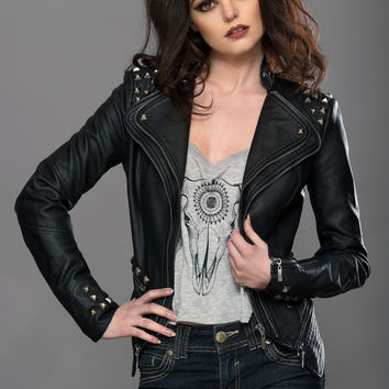 Black Studded Rocker Moto Jacket