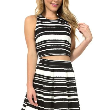 Teeze Me | Two-Piece Sleeveless Crop Top and Pleated Skirt  | Black/White