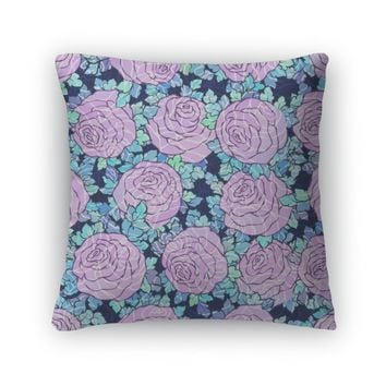 Throw Pillow, Floral Decorative Bright Wallpaper With Cute Roses Pattern In Lilac Colors On