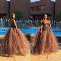 Fashion Sexy V-Neck Brown Chocolate Prom Dresses 2017 Tulle Backless Formal Evening Party Dress African Floor Length Lace Gowns