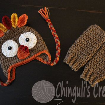 Turkey Crochet Baby Hat and Leg Warmers Set