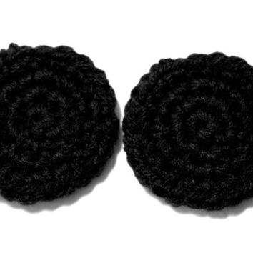 Black Custom Lobe Warmers (Plug Mittens) for Stretched Ears.