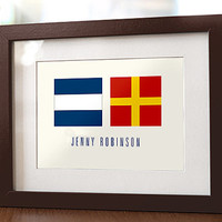 Personalized Nautical Names Flag Wall Art for Kid Child Room - Perfect for Boy or Girl Personalised Birth Announcement