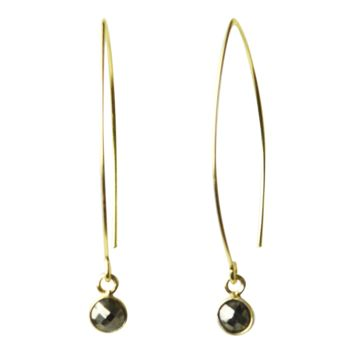Gemstone Dangle Earrings in Pyrite