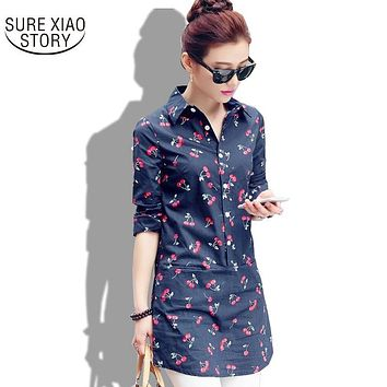 2016 New spring and summer women blouse three quarter sleeve fashion cherry printed female tops plus size women clothing 558f 60